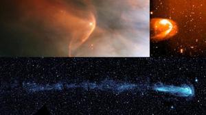 產生日光層的條件,即向外推的恒星風和向內推的星際氣體達到平衡,這種現象如此普遍,也許大多數恒星具有類似的結構,稱為astrosphere。圖中顯示各種望遠鏡拍攝的三個這樣的astrosphere照片。(NASA/ESA/JPL-Caltech)